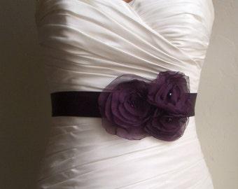 Aubergine Bridal Sash, Purple Bridal Sash Dark Eggplant Bridal Sash, Purple Wedding, Purple Wedding Sash, Purple Bridal Accessories, Breanna