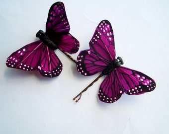 Ready to Ship - SET OF 2 Large Butterfly Hairpins - PURPLE