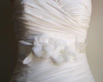 Bridal Sash Belt- Two Ivory flowers on Ivory Satin with Feathers