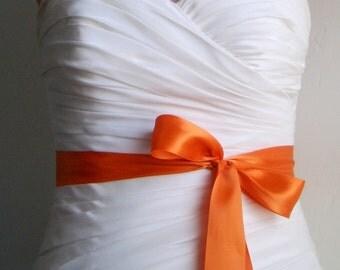 On Sale - Ready to Ship - HARVEST - 1.5 Inch Simple Satin Bridal Sash