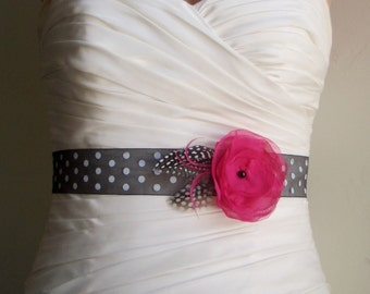 Bridal Sash Belt, Pink Flower Sash, Fuchsia and Polkadot, Flowergirl Sash, Bridesmaid Sash, Bridal Accessories