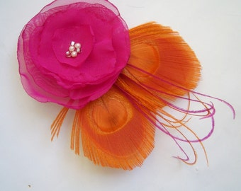 Pink Hair Clip, Bridal Fascinator,  Pink Wedding Flower Hair Piece, Bridal Accessories, Pink Wedding Hair Accessory, Wedding Accessories