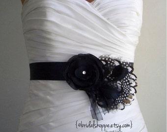 Black Bridal Sash Feathers Black and White Bridal or Bridesmaids Belt Wedding Accessories