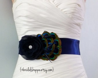 Navy Blue Peacock Bridal Sash, Navy Blue Wedding Belt, Navy Blue Wedding Sash, Feather Bridal Belt, Peacock Wedding, Bridal Accessories