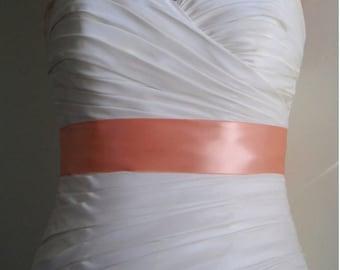 Peach Sash - 2 Inch Peach Simple Satin Bridal Sash