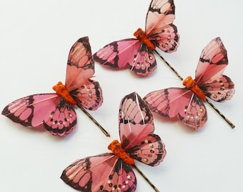 Rose Pink and Orange Butterfly Hairpins - Set of 4 Large Butterfly Bobbypins