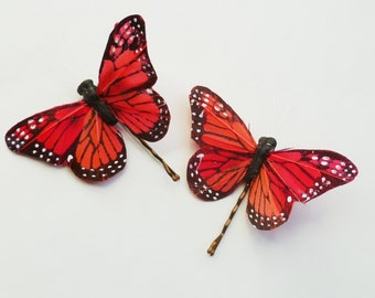 Coral Butterfly Hairpins - Set of 2 Large Butterfly Bobbypins