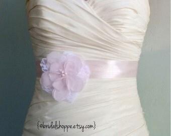 Blush Pink Wedding Sash, Pink Bridal Sash, Lace Bridal Sash, Pink Flower girl Sash, Blush Pink Wedding