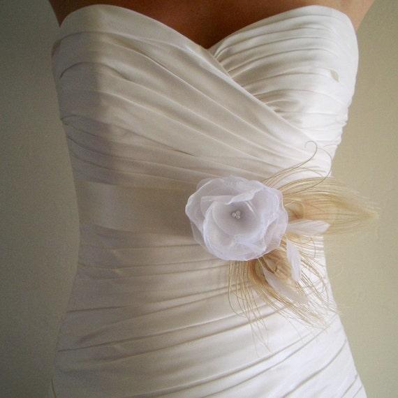 Wedding Sash Belt Bridesmaid Sash AVALON - Vintage Ivory on Ivory Bridal Belt Ready to Ship