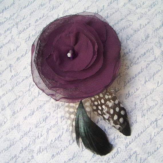 Aubergine Flower Hairclip with Feathers, Purple Flower Hair Clip, Purple Wedding, Bridal Accessories, Purple Prom, Eggplant Hair Piece