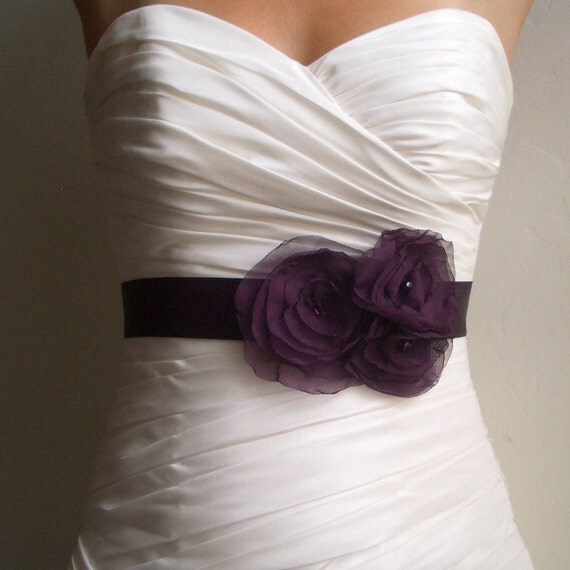 Wedding bridal sash eggplant purple satin bridal by for Satin sash for wedding dress