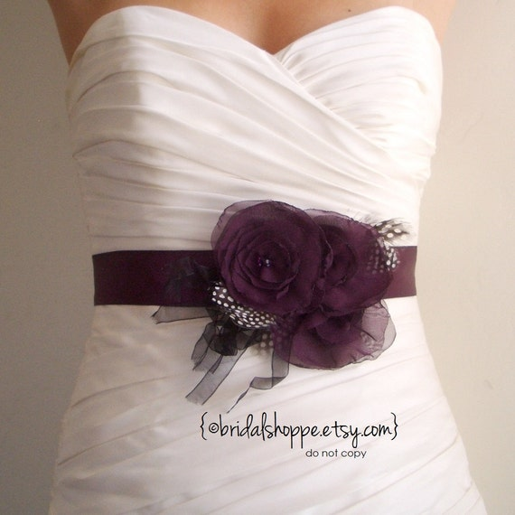 Wedding Sash Belt RACHEL - Dark Eggplant Purple Satin Bridal Sash with Feathers and Fringe
