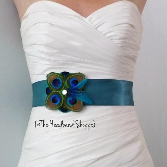 Items similar to tuscany peacock bridal or bridesmaids for Peacock wedding dress sash