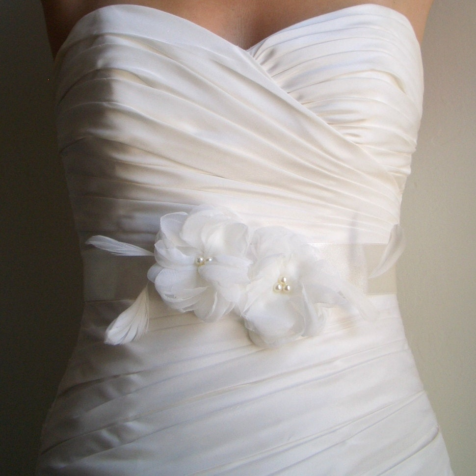 bridal sash belt two ivory flowers on ivory satin with
