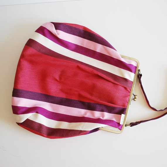 pink striped frame purse / bag