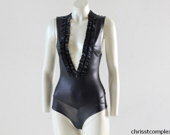 Bodysuit Pvc Ruffle Black Gothic Goth Rock Burlesque Dance Costume Cosplay Chrisst Unique Fashion SPECIAL ETSY PRICE