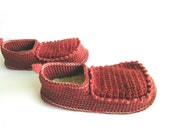 House Shoes with Leather Sole in rust orange - all adult shoe sizes