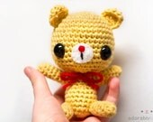 yellow bear with red nose & bow - made to order