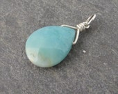 Amazonite gemstone pendant with sterling silver