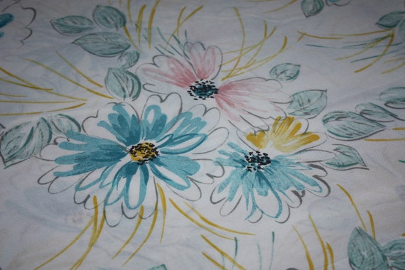 Shabby Chic Vintage Full Sheet Yellow Blue Pink and White Floral