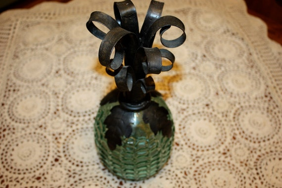 Antique Blue Green Glass Pineapple Vase with Metal top