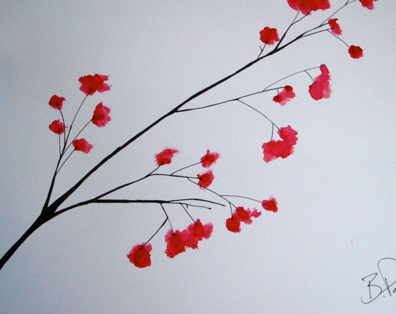 BRANCHING OUT Original Art Watercolor Red Tree