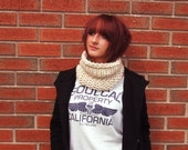 Big Knits are in fashion this autumn - Cream Knitted Neck Cosy