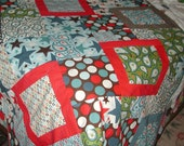 Quilt Crib, Lap, or Baby Modern Patriotic Colors Red White Brown and Blue Stars Dots and Paisley