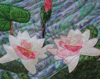 Water Lillies Quilted Wall Hanging