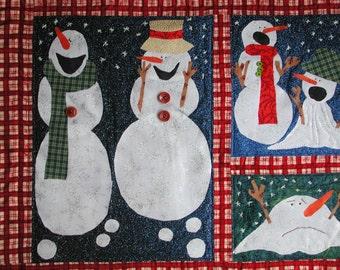 Snowman Quilt Snowman Wall Hanging Melting Snowman Quilt Winter Wonderland Quilt Fiber Art Snowman Christmas Snow Wall Hanging Kid Quilt