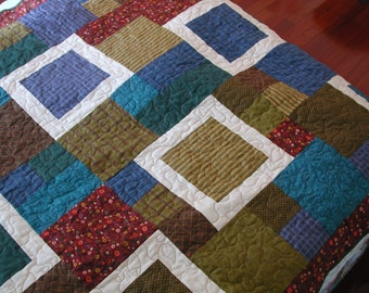 Lap Quilt Throw Quilt Brown, Maroon, Deep Purple Earth Toned Squares Leaves and Vines Quilting Quilt for Guys Masculine Bed Quilt Cover