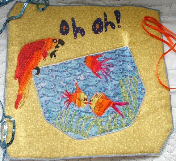 Art Mini Quilt or Candle Mat The Parrot Uses the Only Word He Knows