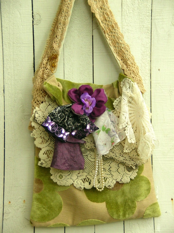 One of a Kind Bohemian Romantic Bag Purse Shabby Chic