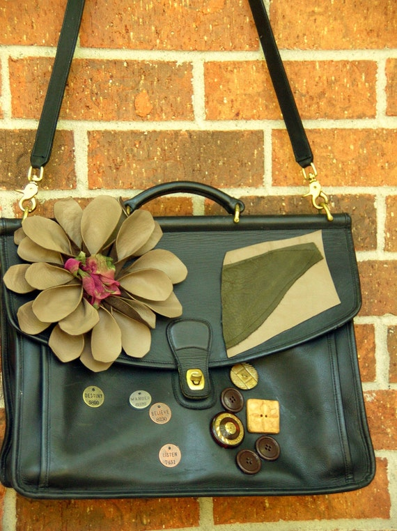Upcycled Coach Leather Briefcase Bag One of a Kind Sale