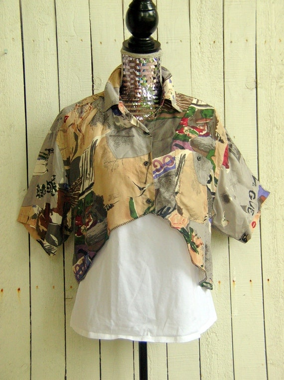 One of a Kind Reconstructed Silk Crop Top Shirt