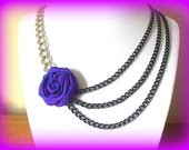 Romantic Black Chain Necklace Statement, Purple Rose Necklace Flower Layered Curb Link Chain Black Silver Tone // ASYMMETRICAL INTEREST