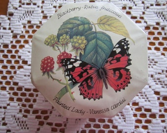Bristows of Devon Vintage Tin Countryside Collection - Rural Life Octagonal Design - Butterfly Berries Flowers Mouse Bee