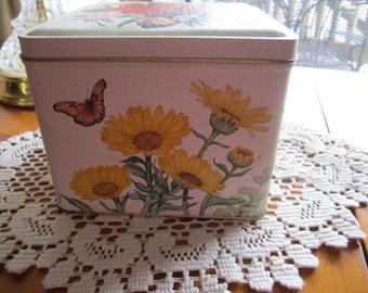 Vintage Tin by Current  Inc. Floral Design 1980 - Roses, Iris, Daisies, Petunias - Collectible Tin - Floral Tin - Garden Decor- Cottage Chic