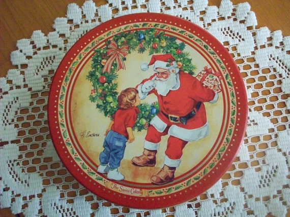 Vintage Christmas Tin - Santa Claus Cookie Candy Tin by Swiss Colony - Designed by Helen Endres - Monroe Wisconsin - Made in USA