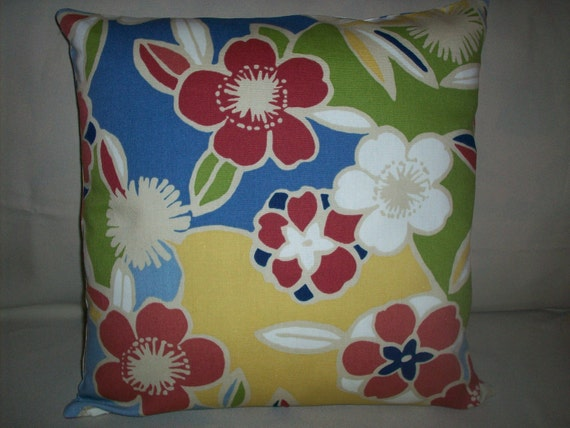 """CLEARANCE - Pillow Cover 16""""  Mod Floral Pattern Retro Look - Boho Hippie Flower Power Decor"""