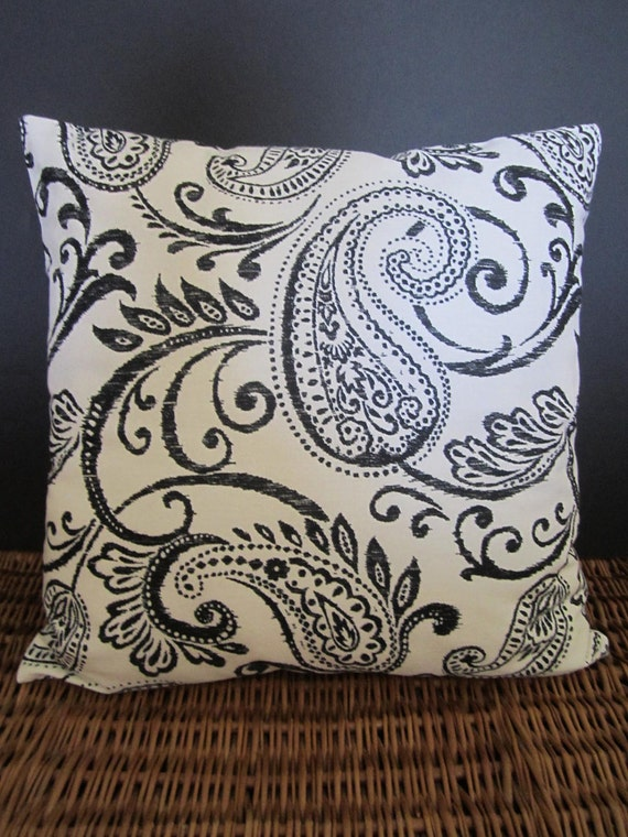 CLEARANCE - Black & White Paisley Pillow Cover - Boho Chic - 16  or 18 Inch Square - Choice