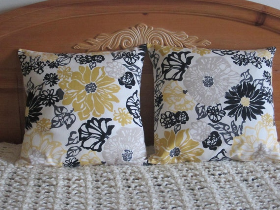 Pillow Covers - 18 Inch Pair - Flower Design Yellow Black Gray Cream Taupe White