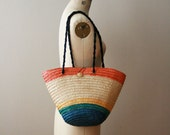 25% off SALE Summer Stripes Straw Tote Bag