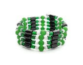 Magnetic Hematite Versatile Cuff Wrap Bracelet Necklace Anklet Choker Green and Black