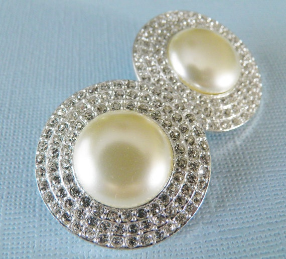 Large Faux Pearl and Rhinestone Buttons