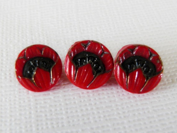 Red Glass Poppy Buttons