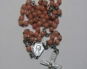 Vintage Tiny Catholic Rosary for a Baby Girl Pink  Glass