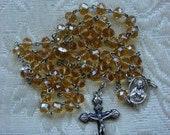 Champagne Crystal Catholic Rosary Sacred Heart & St. Therese the Little Flower