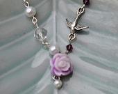 Purple Flower Necklace purple rose garden and bird