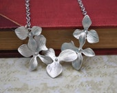 Orchid Necklace in Silver Exotic Flowers perfect for brides bridesmaid gift